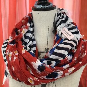 JUICY COUTURE Red White Blue Floral Viscose Scarf